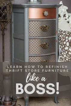 Learn How to Refinish Furniture Like a Boss! Follow and Subscribe to Lotus Theory Designs for step by step tutorials, inspiration, DIY projects, furniture makeovers, and to learn how to refinish furniture and upcycle thrift store furniture!  #Howtorefinishfurniture #furnituremakeovers #paintedfurniture Diy Furniture Tutorials, Furniture Projects, Furniture Design, Diy Projects, Custom Furniture, Thrift Store Furniture, Upcycled Furniture, Dresser Refinish, Furniture Inspiration