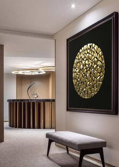 Wall Art On Canvas Abstract Oil Painting Wall Decor THIS PAINTING IS SOLD. Your painting will be create very similar in same style, color and size.After you ordered I will start to create your painting directly.I will finish it in only 10 DAYS . DETAILS * Name: Gold Moon 2016 *