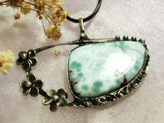 Larimar Gemstone Pendant made with Tiffany technique by NellanyArt