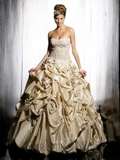 Wedding Gown - 15492 > Wedding Dress – Wedding Dresses – Wedding Gowns - Christina Wu in Light Gold Gold Wedding Gowns, Vintage Style Wedding Dresses, Colored Wedding Dresses, Best Wedding Dresses, Designer Wedding Dresses, Bridal Dresses, Dress Wedding, Wedding Rings, Gold Ball Dresses