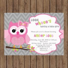 Hey, I found this really awesome Etsy listing at https://www.etsy.com/listing/169835142/owl-chevron-pink-grey-invitation-baby