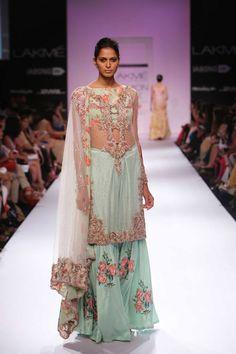 Sheer mint green pink lehenga by Zara Shahjahan at Lakme Fashion Week Winter 2014. More here: http://www.indianweddingsite.com/lakme-fashion-week-winter-2014-designer-zara-shahjahan/