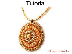 Beading Tutorial Pattern Necklace Pendant - Circular Brick Stitch - Simple Bead Patterns - Circular Splendor #586