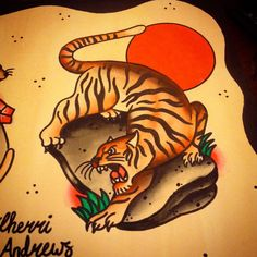 Tiger painting, by Cherri Andrews. Latin Angel studio, London, U.K. Cherriandrewstattoo@gmail.com Www.latinangel.co.uk 020 8948 5535 #traditionaltattoo #tattoo #traditional #oldschool #oldschooltattoo #tattoos #tigertattoo #tiger #crawlingtiger #crouchingtiger #london #londontattoo #richmond #richmondhill #richmondpark #uktattoo #traditionaltigertattoo #tigertattoo #sun #cherriandrewstattoo #cherriandrews