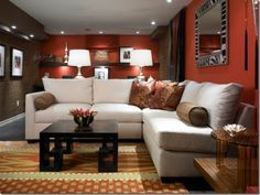 Decoration, Red Wall Color For Modern Basement Family Room With White L Shaped Sofa And Unique Rug: Helpful Basement Family Room Design Ideas Living Room Red, Living Room Paint, Living Room Decor, Family Room Decorating, Family Room Design, Basement Decorating, Decorating Ideas, Family Rooms, Decor Ideas
