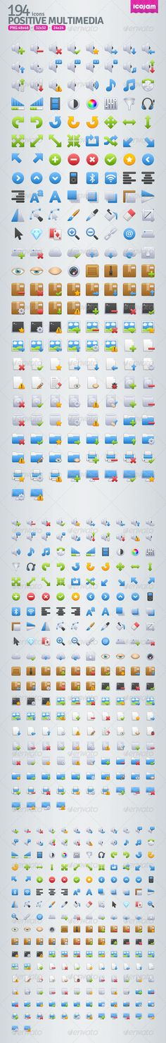 194 Positive Multimedia Icons  #GraphicRiver         Positive Multimedia contains 194 icons in 48×48, 32×32, 24×24 sized PNG .     Created: 22November12 GraphicsFilesIncluded: TransparentPNG HighResolution: No Layered: No PixelDimensions: 48x48 Tags: 24x24 #32x32 #48x48 #icojam #iconset #icons #multimedia #positive