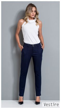 08a06c3a26 64 melhores imagens de calça azul marinho