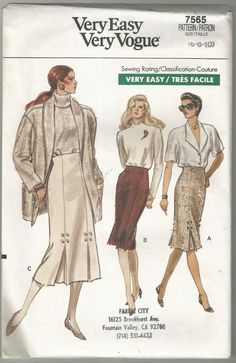Very easy very Vogue 7565 sewing pattern 6 8 10 Misses skirt fitted straight…