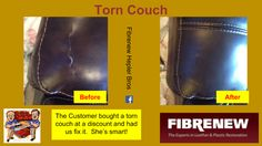 One of our smartest customers ever bought this leather couch at a deep discount. After a Fibrenew repair, she has a brand new sofa for a great price!