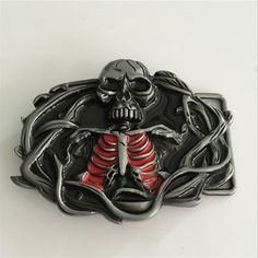 Retail New Style Cool 3D Skull Cowboy Belt Buckle With 92*70mm Metal Fashion Men Women Belt Accessories Fit 4cm Wideth Belt