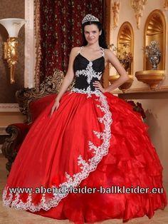 Rot Schwarzes Neckholder Sissi Kleid Ballkleid Weites Abendkleid