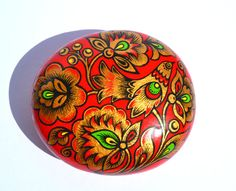 Hand Painted Rock , Russian Hohloma Style painting, Magic Rock, Pebble painting, Flowers with Bird Decor,  Gratitude Rock, Flower with Bird