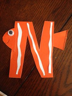 N is for Nemo! I know that Nemo is it an actual animal but try and find an animal that starts with the letter N that a two-year-old knows what it is! Kinda tricky! But she loved the idea of making Nemo!