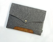 """Made to order Laptop Macbook Air Pro 11"""" 13"""" 15"""" 17""""   Leather Felt Sleeve Case Bag-Grey-E1137-13Y. $25.00, via Etsy."""