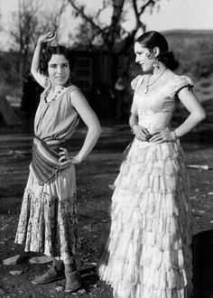 Antonieta Morales shows Lupe Vélez a step of the tango on the set of The Wolf Song (1929)
