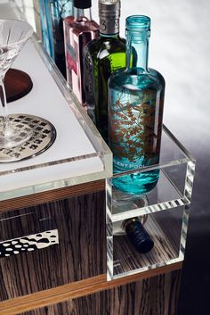 Quench Gin Trolley - serve drinks in style with this luxurious drinks trolley. Drinks Trolley, Bar Set Up, Drinks Cabinet, Birch Ply, Drip Tray, Luxury Candles, Mini Fridge, Bars For Home, Fun Drinks
