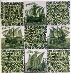 Nine tiles depicting ships and olive branches (ceramic)