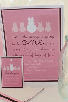 bunny invites: our little bunny is going to be one, please join us in an afternoon of fun