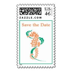 Seahorse emerald, coral wedding Save the Date Stamp
