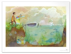"""Wallpaper """"By The Lake"""" Wallpaper, Painting, Etsy, Design, Art, Poster, Art Background, Wallpapers, Painting Art"""