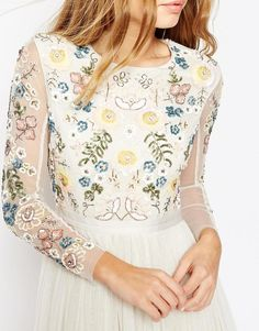 Image 3 ofNeedle & Thread Backless Sheer Sleeve Tulle Embellished Maxi Dress