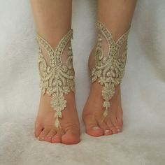 French lace barefoot sandals of good quality Cappuccino gold frame Choose your foot number. Flexible ankle. Ready to ship. Shipment within 24 hours after purchase, weekend 48 hours via post Office. Estimated delivery 20-25 days. customs control may extend this time. purchased with