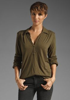 MICHAEL STARS Long Sleeve Henley in Topiary at Revolve Clothing - Free Shipping!