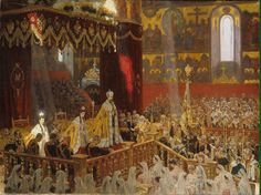 The Coronation of Emperor Nicholas ll and his wife, Empress Alexandra Feodorovna, with Empress Maria Feodorovna, performed at the Dormition… Alexandra Feodorovna, Style Russe, Art Nouveau, Eagle Painting, Lund, Hesse, Tsar Nicholas Ii, Ludwig, Great Paintings