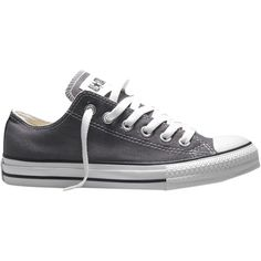 Converse Chuck Taylor All Star Canvas Ox Low-Top Trainers , Charcoal (€50) ❤ liked on Polyvore featuring shoes, sneakers, converse, chaussures, charcoal, canvas flat shoes, canvas sneakers, canvas low-top sneakers, low top shoes and canvas flat sneakers