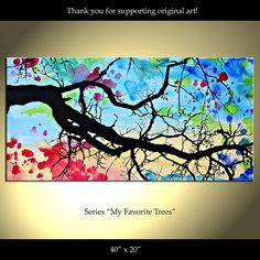 Tree Painting Flowers Original Modern Landscape