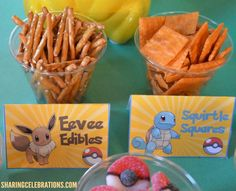 We're offering stick pretzels, yet Eevee Edibles could be any snack food you have on hand! <br/>Similarly, Squirtle Squares could be any kind of square snack! Pokemon Snacks, Pokemon Candy, Pokemon Craft, Harry Birthday, 9th Birthday Parties, Pokemon Birthday, Birthday Ideas, 17th Birthday, Pikachu Halloween Costume
