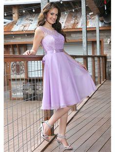 A-Line Regular Straps Scoop Lace Bodice Zipper Back Knee-Length Bridesmaid Dress