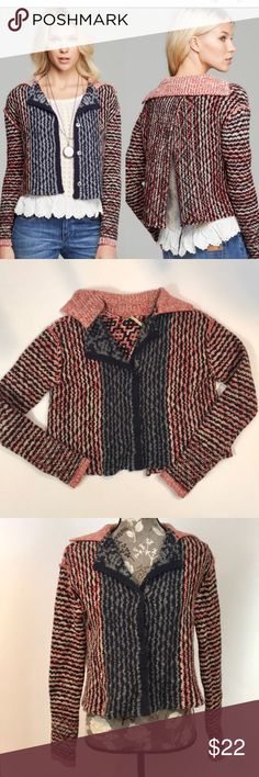 """Free People Open Back Crop Cardigan Super cute Free People Open Back Crop Cardigan size small. Excellent preloved condition. Snap front, long sleeves, chunky wool blend knit mixed color design. Open/ slit back. Underarm to underarm 18"""", length 20"""".76% wool, nylon and acrylic. Free People Sweaters Cardigans"""