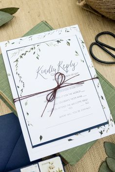 small watercolor leaf wedding invitations, green white and navy wedding invitation suite, modern calligraphy. Wouldn't it be Lovely.
