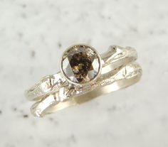 Chocolate Diamond Branch Engagement Ring 14k by PointNoPointStudio, $1550.00