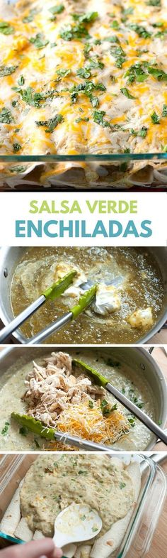 Easy Salsa Verde Chicken Enchiladas It's so simple to make this Chicken Enchiladas recipe with salsa verde, chicken, sour cream, cheese and cilantro. A quick and easy dinner! Mexican Dishes, Mexican Food Recipes, Dinner Recipes, Salsa Verde Enchiladas, Cheesy Chicken Enchiladas, Beef Enchiladas, Salsa Verde Recipe, Cooking Recipes, Healthy Recipes