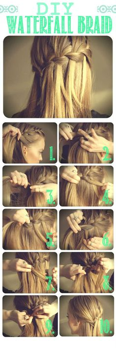DIY Waterfall Braid Hair Style | http://www.diyncraftz.com/diy-waterfall-braid-hair-style