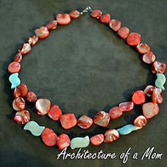 How to make a bib-style necklace with coral and aqua beads with no special hardware except the clasp