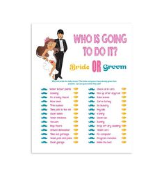 Who is going to do it Bridal Shower Game Pink Wedding Shower Game Purple Couples Shower Game Bridal Shower Gifts For Bride, Fun Bridal Shower Games, Bridal Shower Party, Baby Shower Fun, Bridal Shower Decorations, Bridal Gifts, Bride Shower, Couple Shower Games, Wedding Games