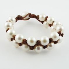 Fine Pearls And Leather Jewelry Pearl Bracelet Bracelets