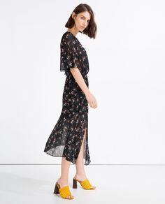 ZARA - NEW IN - PRINTED LONG CROSSOVER DRESS