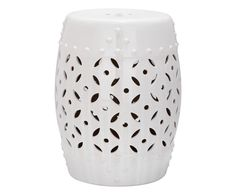 Sgabello in ceramica cyprus bianco, 33x47x33 cm