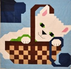 Kitty in Basket Quilt Pattern by SewCuteQuilting on Etsy, $10.00