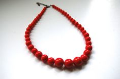 Vintage Coral Beaded Necklace 1960's by MidwestAtticTreasure, $18.00