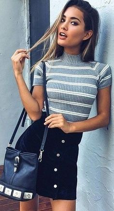 Top| Blouse| Sweater| Ribbed| Knit| Grey| Gray| White| Striped| Short sleeve| Arm| Tucked in| Skirt| Mini| Black| Silver| Accent| Short| Leg| Velvet| Purse| Shoulder bag| Leather| Fall| Autumn| P513