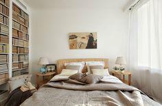 Kleines Schlafzimmer Beige Möbel Weiße Wandfarbe