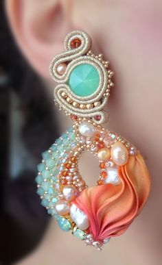 EARRINGS - Designed by Serena Di Mercione -  Soutache, bead embroidery. --- Shibori silk ribbon, Swarovski, pearls