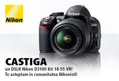 Aboneaza-te la newsletter-ul Nikonisti in perioada 7 august - 15 septembrie 2013 si poti castiga un Nikon D3100 Kit 18-55 VR!