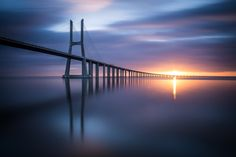 Brand New Day by Ricardo_Mateus sky landscape water reflection travel sun light bridge silhouette dawn suspension bridge no person B Purple Palette, Brand New Day, Sky Landscape, Water Reflections, Stairway To Heaven, Visual Communication, Pathways, Lisbon, Great Photos