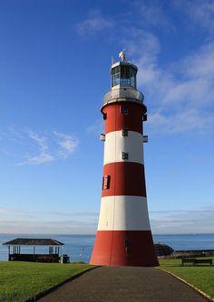 Plymouth Hoe lighthouse this morning (April 12 Early blue, calm sea, vivid lighthouse. Devon England, Devon Uk, Devon And Cornwall, South Devon, Plymouth Hoe, Plymouth England, Places Ive Been, Places To Visit, Dartmoor
